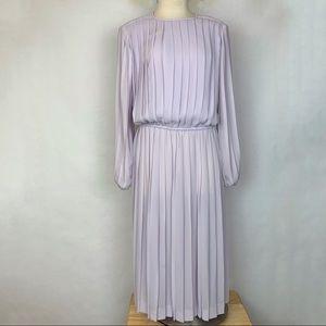 Vintage Long Sleeve Dress Long Accordion Pleat M L